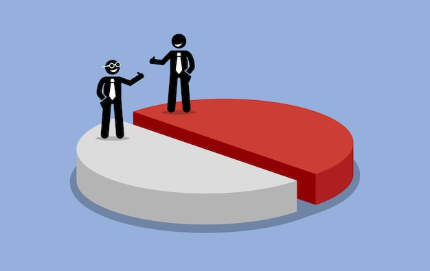 Sharing profit between two shareholders businessman. company income is shared and split into half.