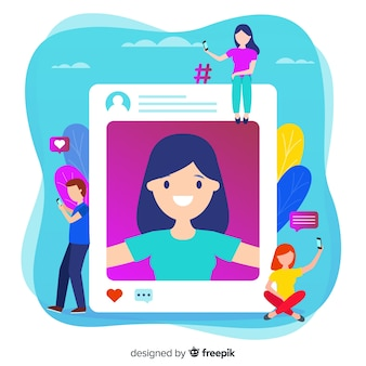Sharing selfies on social media illustration