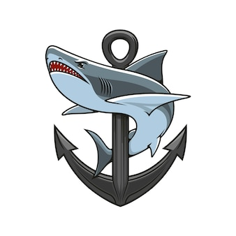 Shark and anchor heraldic logo