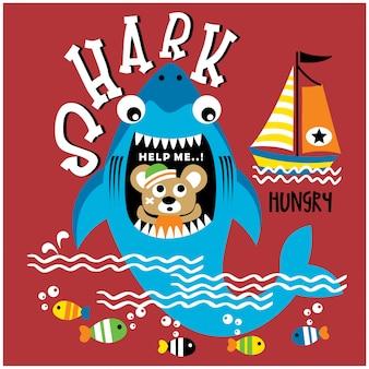 Акула и мышь в море забавный мультфильм животных, векторная иллюстрация