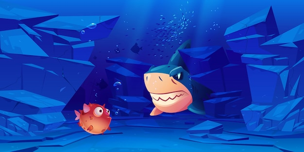周りに岩がある海または海底のサメとフグ。
