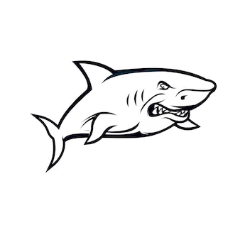 Shark black and white concept isolated on white