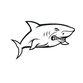 Shark black and white hand draw
