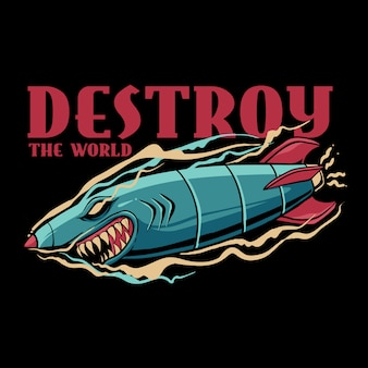 Shark bomb destroy the world illustration