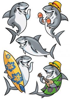 Набор персонажей мультфильма акула Premium векторы