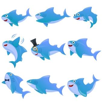 Shark cartoon icons set