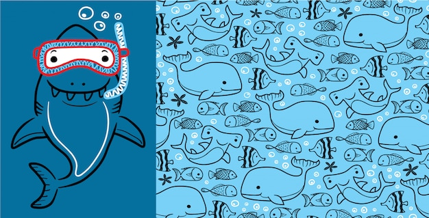 Shark cartoon with marine animals on seamless pattern