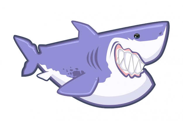 Shark cute cartoon vector