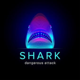 サメの危険な攻撃。口と顎を開いたクジラまたはイタチザメの抽象的な頭。暗い背景の上のネオン線画スタイルの大きな水中海魚のシルエットの3dベクトル図