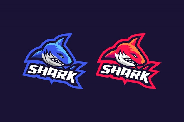 Shark esport logo design with 2 option color
