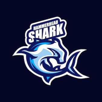 Акула киберспорт талисман мультяшный логотип вектор шаблон