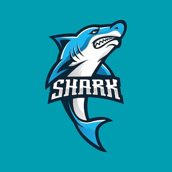 Shark esport mascot logo design vector