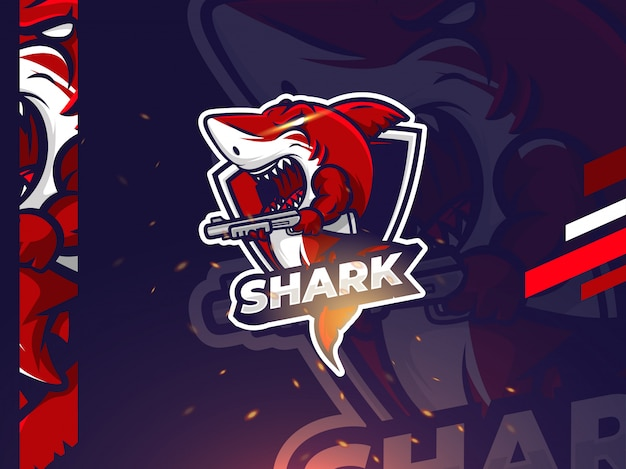 Shark esport mascot logo design