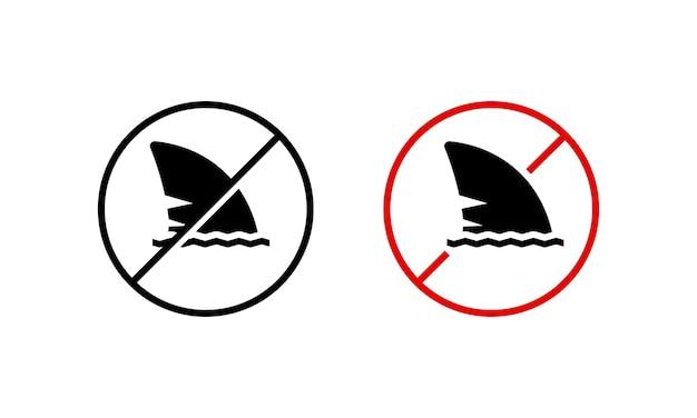 Значок плавник акулы. купаться запрещено. опасный. позаботьтесь о концепции. вектор на изолированном белом фоне. eps 10.