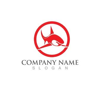 Шаблон логотипа рыба акула. символ творческого вектора