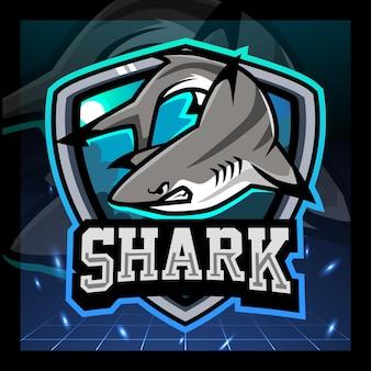 Акула рыба талисман киберспорт дизайн логотипа
