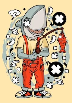 サメ漁師イラスト