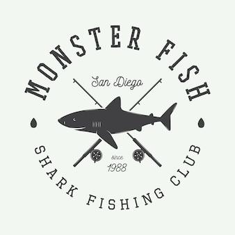 Shark fishing club emblem with shark
