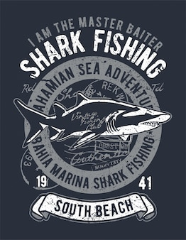 Shark fishing illustration design