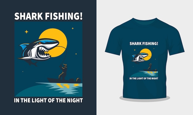 Tシャツデザインのサメ釣りイラスト