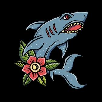 Shark and flower  illustration
