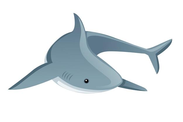 Акула, гигантская вершина хищника, мультяшный животный дизайн, плоская векторная иллюстрация