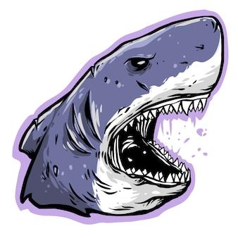 Shark head angry design