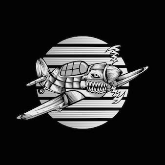 Shark hurricane ariplane vector illustration