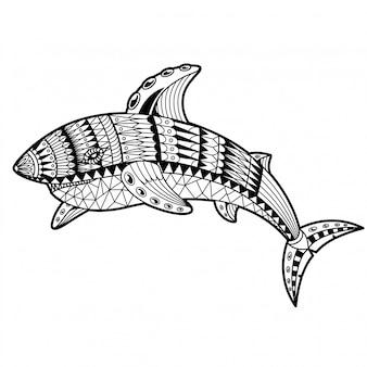 サメのイラストマンダラzentangle直線的なスタイル