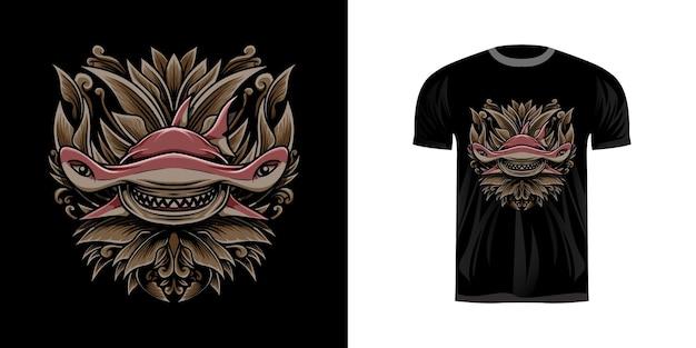 Tシャツのデザインのための彫刻飾りとサメのイラスト