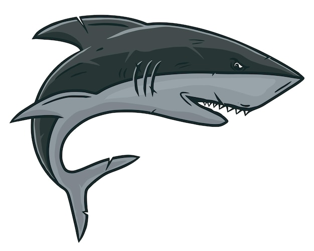 Акула в винтажном стиле изолированных иллюстрация.