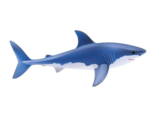 白で隔離されたサメ。リアルなイラスト