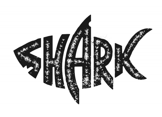 Shark lettering in shark silhouette. grunge lettering with shark shape. black and white distressed vector shark logo.