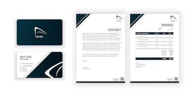 Shark logo business card and blank modern minimalist templatedocument design template for office