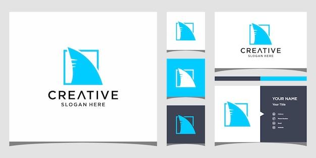 Дизайн логотипа акулы с шаблоном бизнес-карты