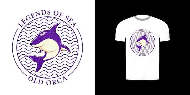Tシャツデザインのサメのロゴ