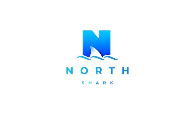 Акула логотип начальный n дизайн вектор шаблон