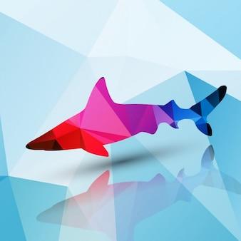 다각형 배경으로 만든 상어
