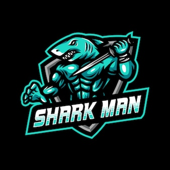 Shark man mascot logo esport gaming