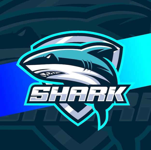 サメのマスコットesportロゴのデザイン