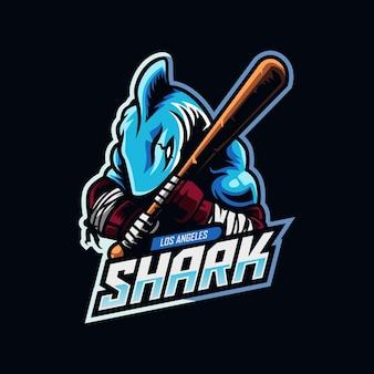 Eスポーツとスポーツチームのロゴのサメのマスコット