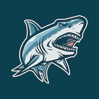 Eスポーツ用のサメのマスコットイラスト