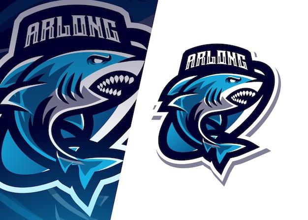Акула талисман логотип киберспорт иллюстрация