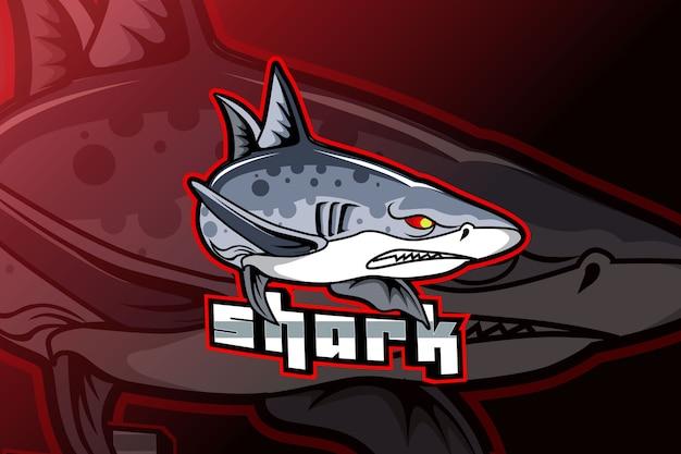 電子スポーツゲーム用のサメのマスコットロゴ