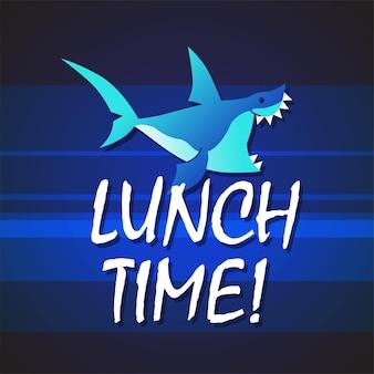 Акула - современная векторная фраза плоской иллюстрации. мультипликационный персонаж животных. подарочное изображение акулы, плавающей с надписью «время обеда в глубоком море».