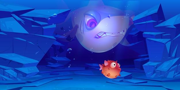 Squalo e pesce palla in mare o sul fondo dell'oceano con rocce intorno sott'acqua