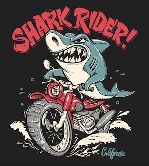 Shark rider on motorcycle t-shirt design