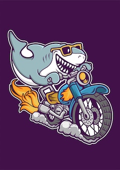 Shark riding motorcycle hand drawn illustration