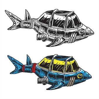 Shark ship mobile underwater explore vehicle concept fun illustration