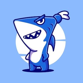 Акула стоя милый мультфильм талисман иллюстрации вектор значок